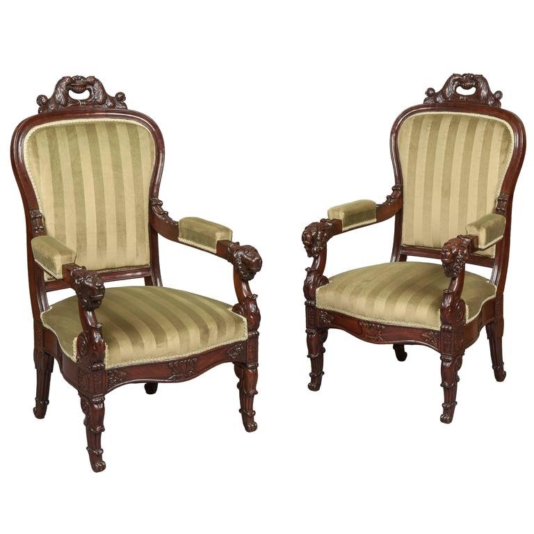 Pair of French Carved Mahogany Armchairs, 19th Century For Sale