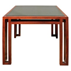 Billy Baldwin Side Table in Oak with Inset Granite Top, 1980s