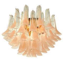 Peach Tone Mazzega Glass Petal Chandelier, 1960s, Murano, Italia