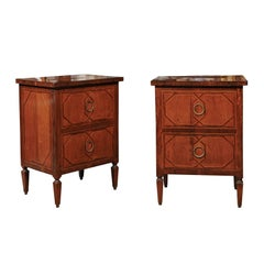 Pair of Walnut and Cherry Inlaid Bedside Commodes with Faux Drawers Circa 1860