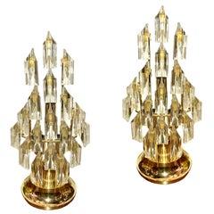 Pair of Moderne Crystal Lamps