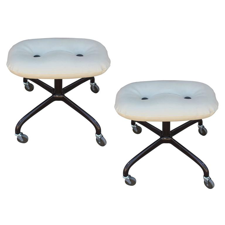 Pair of Modern Knoll Leather Rolling Stools Buttons