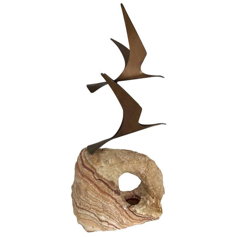 Large Birds in Flight Sculpture by C. Jere
