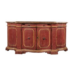 Venetian Red Painted Serpentine Front Credenza with Two Drawers over Four Doors