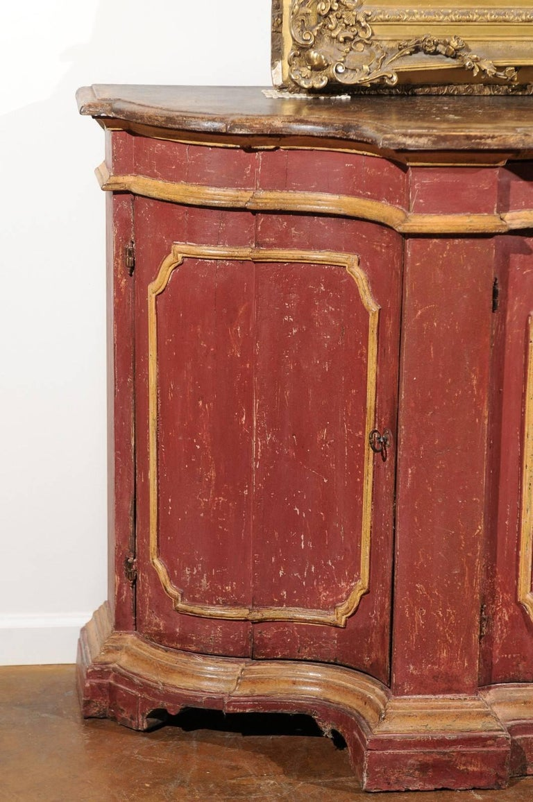 Rococo Venetian Red Painted Serpentine Front Credenza with Two Drawers over Four Doors For Sale