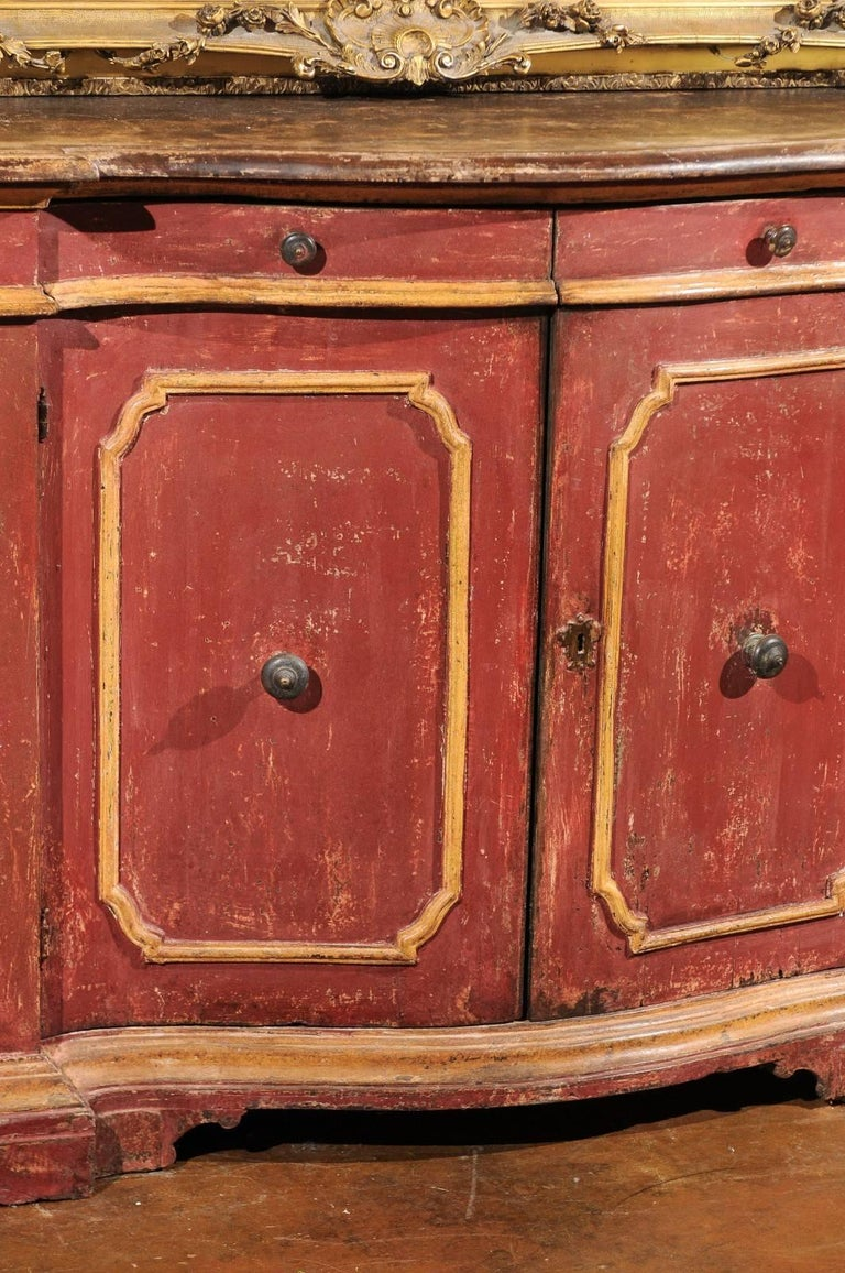 Italian Venetian Red Painted Serpentine Front Credenza with Two Drawers over Four Doors For Sale