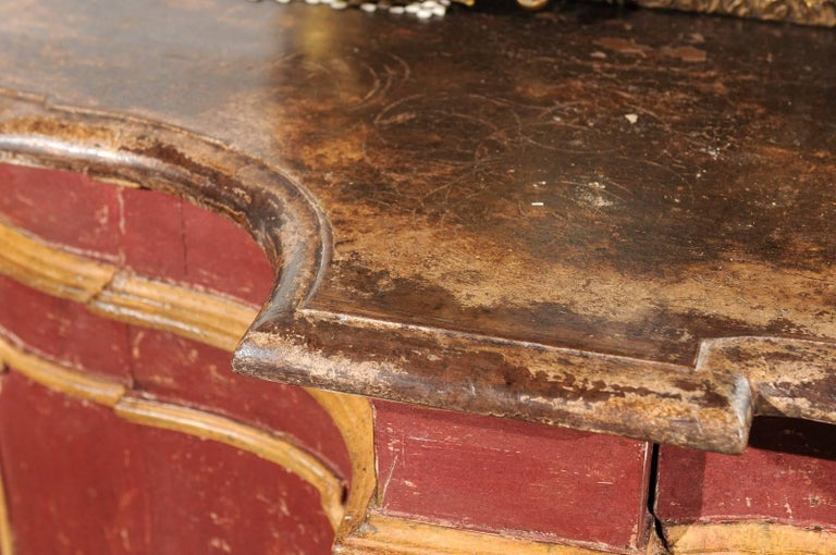Venetian Red Painted Serpentine Front Credenza with Two Drawers over Four Doors In Excellent Condition For Sale In Atlanta, GA