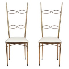 Pair of Mid-Century Italian Brass Chairs, 1960s
