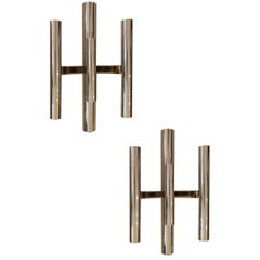 Pair of Gaetano Sciolari Chrome Sconces