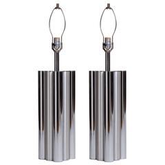 Chrome & Brushed Steel Tubular Column Lamps