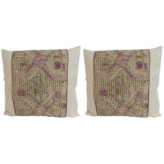 Pair of 19th Century Turkish Embroidered Linen Square Decorative Pillows