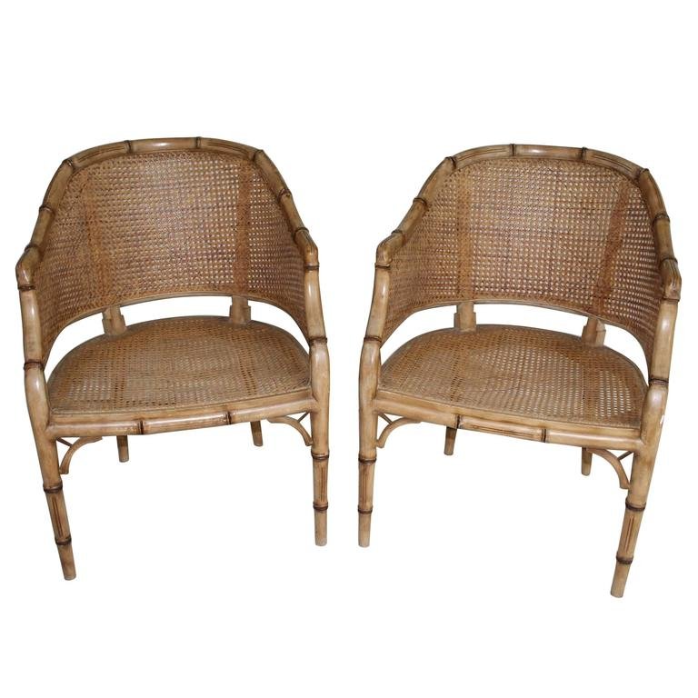 Pair of Vintage French Faux Bamboo Wood Chairs For Sale