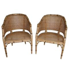 Pair of Vintage French Faux Bamboo Wood Chairs