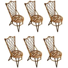 Fantastic Set of Six Audoux Minet Wicker Chairs, circa 1960