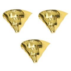 Set of Three Italian Brass Uplight Sconces, 1970s