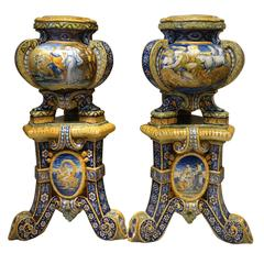 Pair of Gardeners with Their Stand in Faience, Urbino Workshop, Italy