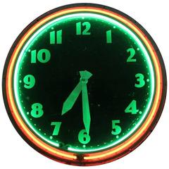 Large 20th Century Neon Clock by Modern Clock Advertising Co.
