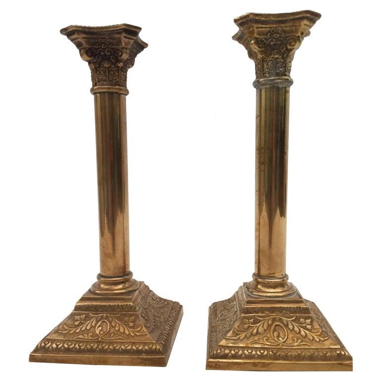 Pair of Georgian Brass Candlesticks For Sale