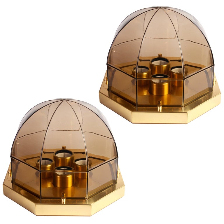 Pair of Smoked Toned Glass and Brass Flush Mount Lights by Limburg, circa 1975