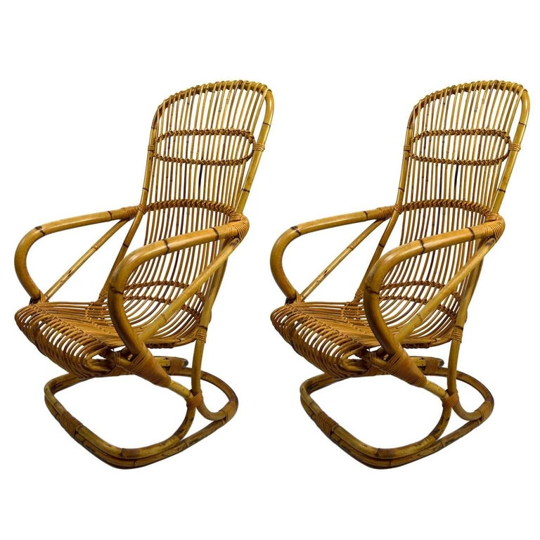 Italian Bamboo Lounge Chair pair available