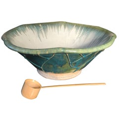Japanese Big Stunning Hand Thrown Blue Glazed Lotus Water Planter Basin