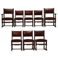 Set of 8 Antique Italian Baroque-Style Leather Dining Chairs