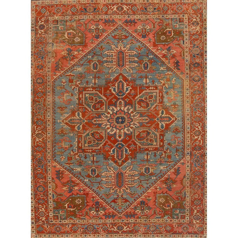Antique Rust And Teal Persian Heriz Rug For Sale At 1stdibs