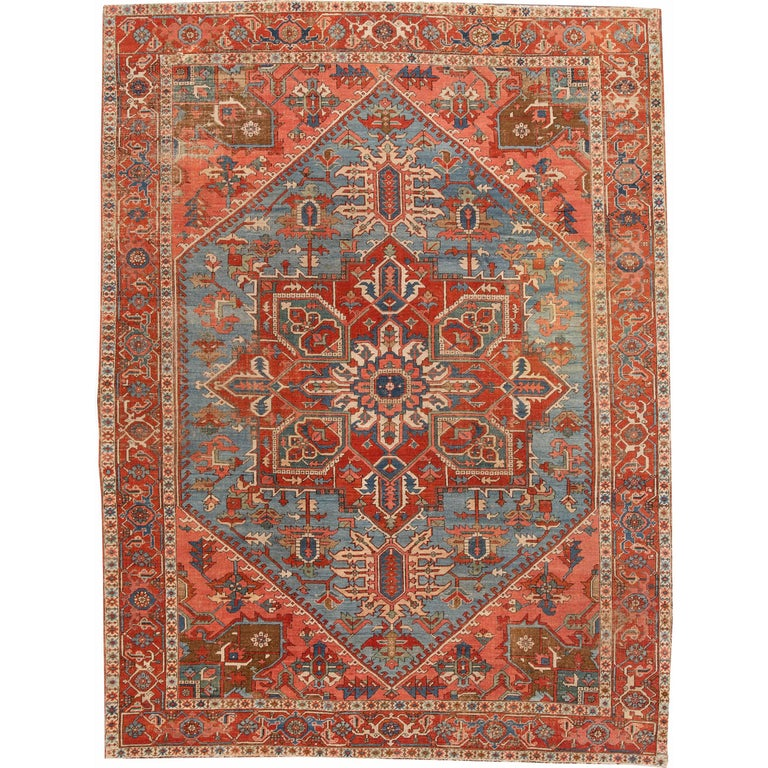 Antique Rust and Teal Persian Heriz Rug