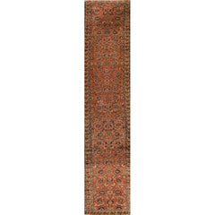 Vintage Rust and Blue Persian Heriz Runner Rug
