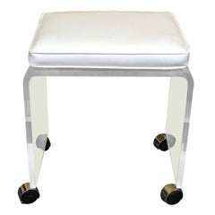 Lucite Bench or Stool with White Naugahyde Cushion Raised on Chrome Casters