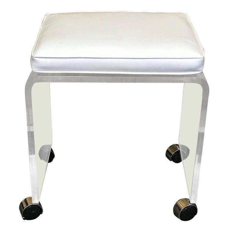 Lucite Bench Or Stool With White Naugahyde Cushion Raised
