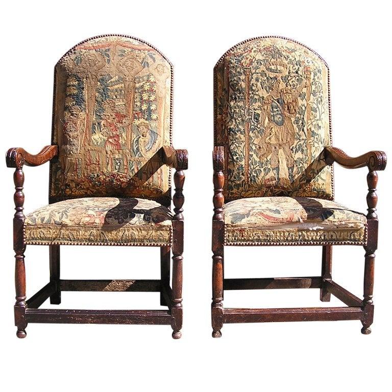 Pair of Italian Walnut Needlepoint Arm Chairs, 18th century