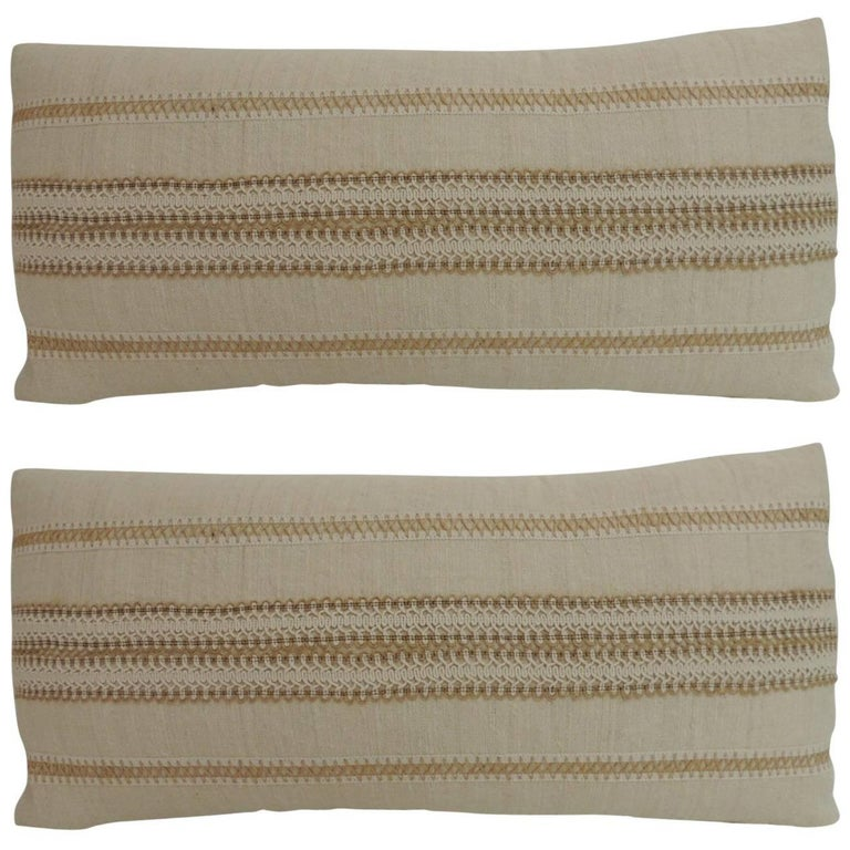 Pair of Vintage Linen Bolster Decorative Pillow with Vintage Jute Trims