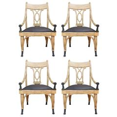 Set of Four Maitland Smith Horse Arm Light Dining Chairs
