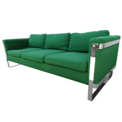 Excellent Milo Baughman style Chrome Flatbar Sofas, Mid-Century Modern