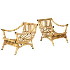 Pair of Bamboo Lounge Chairs in the Manner of Franco Albini
