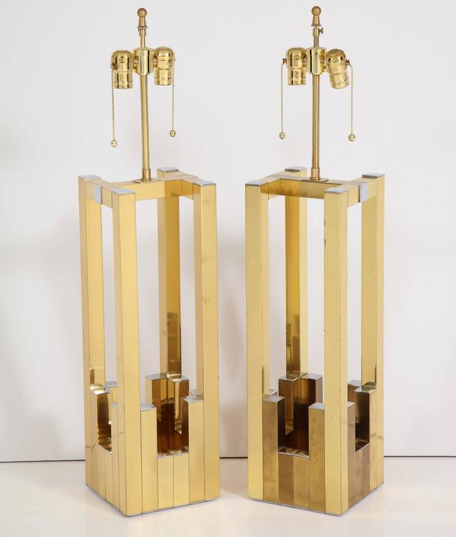 Fabulous pair of extra large table lamps in chrome and brass designed by Willy Rizzo for Lumica. Fabulous sculptural brass lamps with chrome tips are a unique 1970s design reflective of Rizzo's Italian genius. Signed Lumica with original sticker.