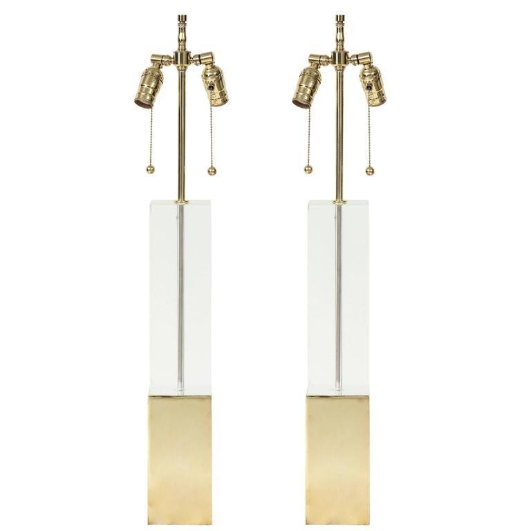 Hollis Jones Brass and Lucite Column Lamps 1