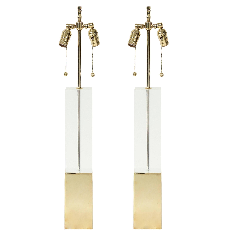 Hollis Jones Brass and Lucite Column Lamps