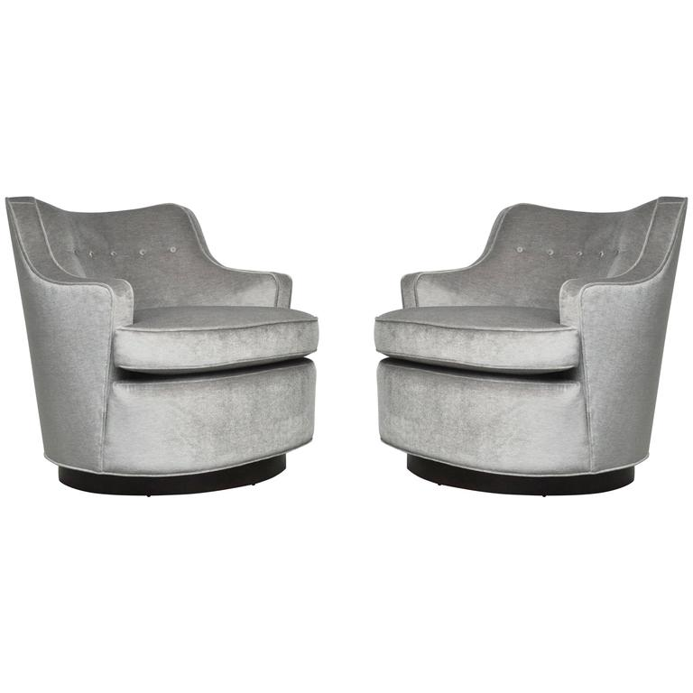 Pair of Dunbar Swivel Chairs by Edward Wormley For Sale