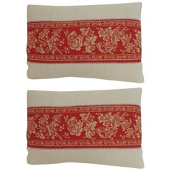 Pair of Antique French Provincial Floral Decorative Linen Lumbar Pillows
