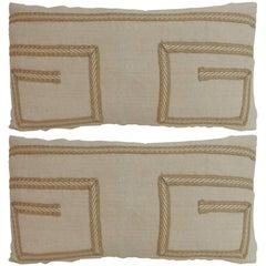 Pair of Vintage Linen Bolster Decorative Pillows with Vintage Jute Trims