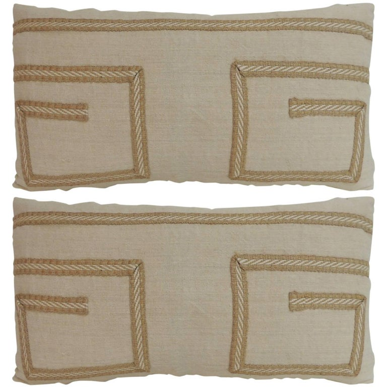 Pair of Vintage Linen Bolster Decorative Pillows with Vintage Jute Trims For Sale at 1stdibs