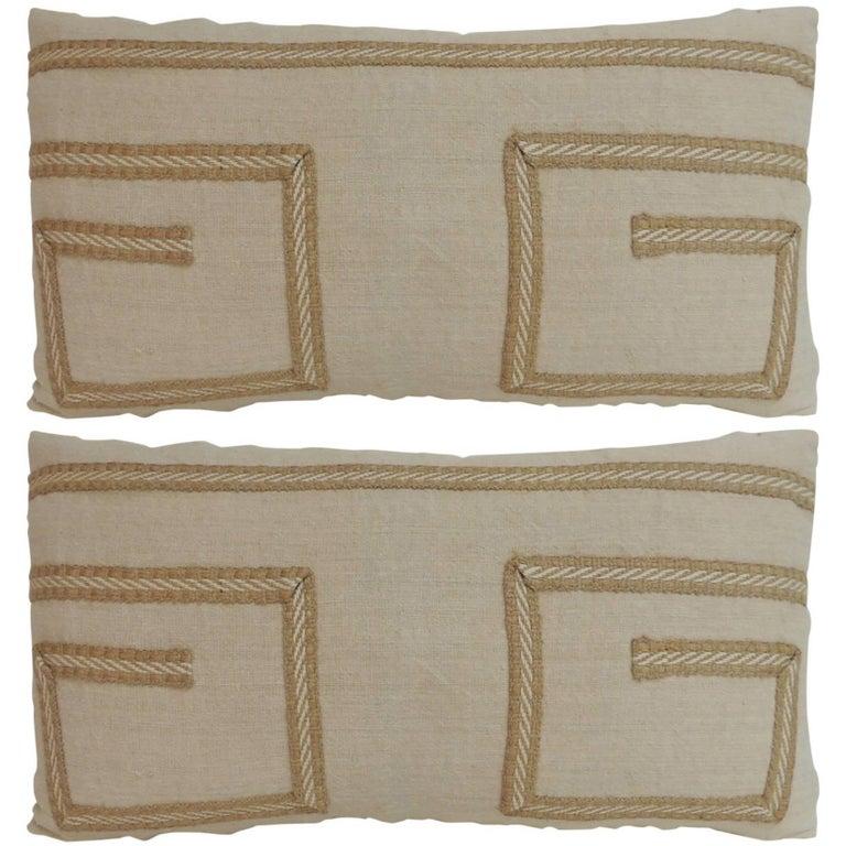 Pair Of Vintage Linen Bolster Decorative Pillows With Jute Trims