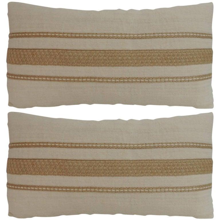 Pair Vintage Linen Bolster Decorative Pillows with Vintage Jute Trims