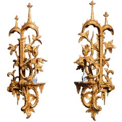Pair of Chinese Chippendale Period Carved Giltwood Wall Lights, circa 1755