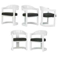 Five Onassis White Lacquer Chairs Karl Springer