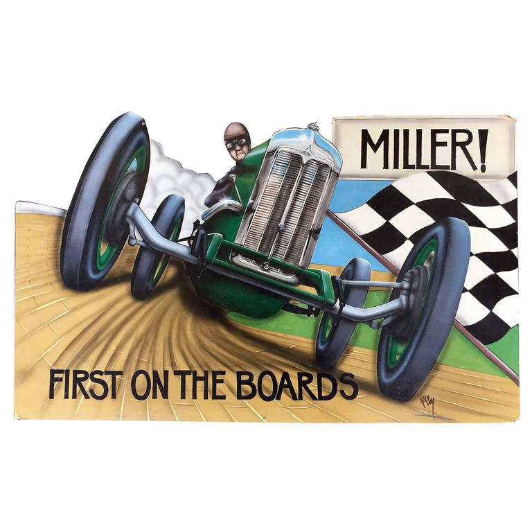 Vintage Auto Racing Painting by Bob McCoy For Sale at 1stdibs