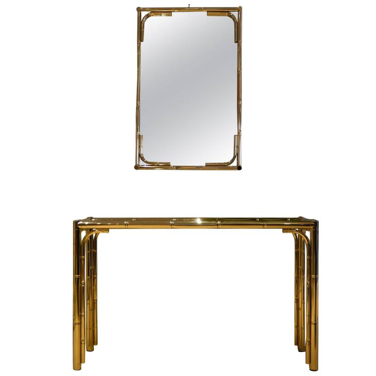 1970s Brass Bamboo Console Table with Mirror