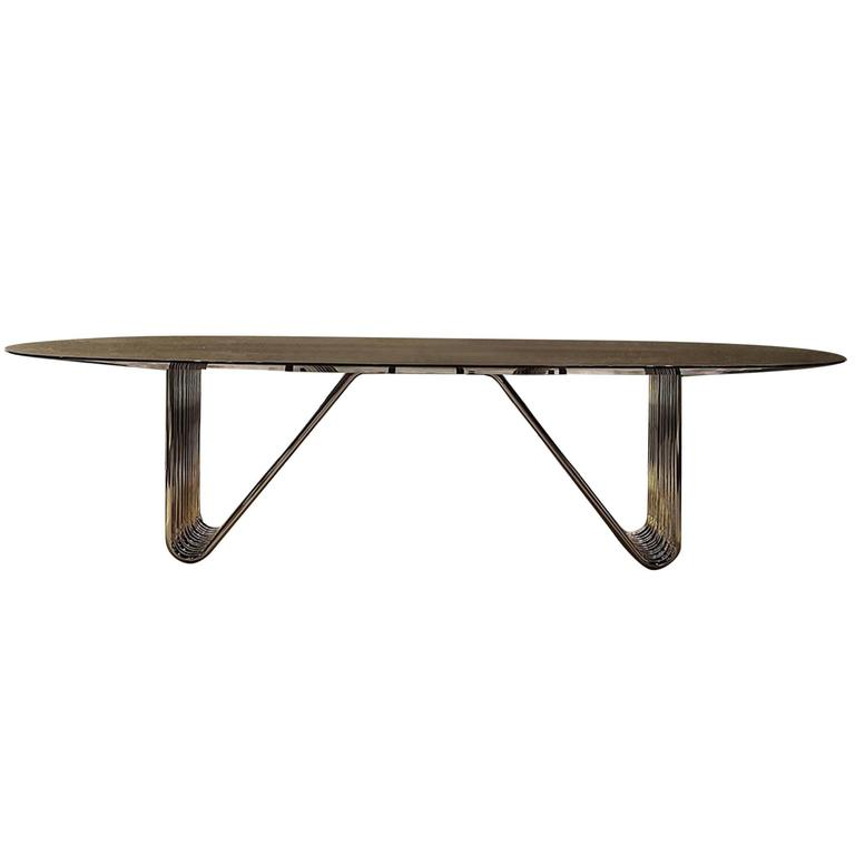 Alina Dinning Table with Lacquered Ebony Top For Sale